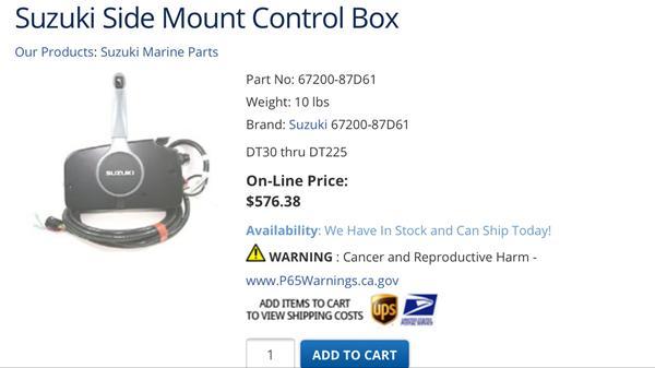 """Suzuki DT 40 99' Remote kontrol """"omdr. Tæller"""""""