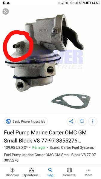 Brændstof pumpe omc v8