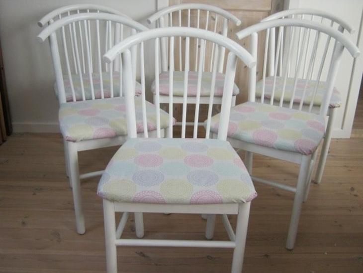 6 spisebordsstole i malet bøgettræ   kr. 750   boligartikler