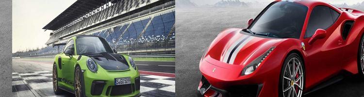 Porsche GT3 RS, Ferrari 488Pista,Lotus og Pegeout