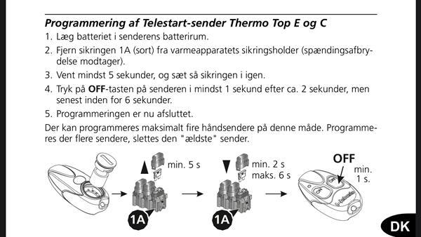 Fjernbetjening kodning med motorvarmer? Webasto t91