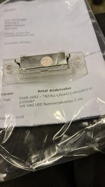 LED nummerplade lys virker ikke