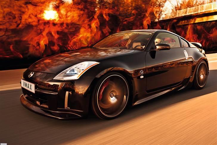 """Nissan 350Z - Black Thunder - BLACK THUNDER - Riding on fire! - Foto af """"Pyramiden"""": Medio november 2009.  billede 1"""