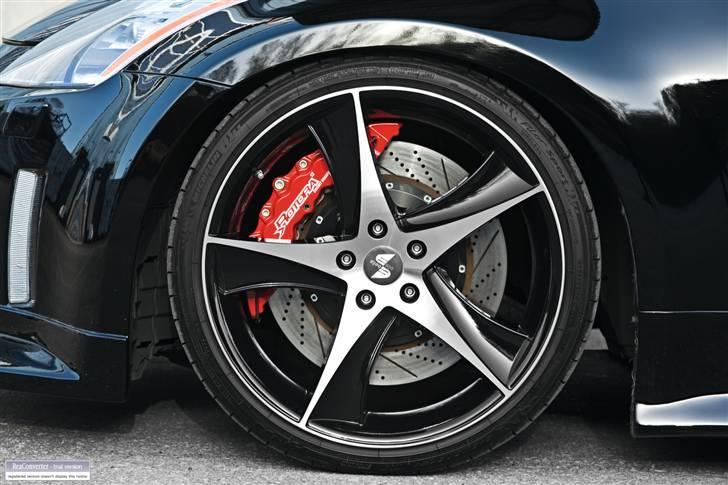 """Nissan 350Z - Black Thunder - Rotora Big Brake Kit - custom made! 12-stemplede kalibre med 380mm/15"""" skiver. Foto af """"Pyramiden"""": Medio november 2009.  billede 14"""