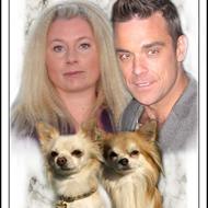 Fru Robbie Williams og sønnerne.. .