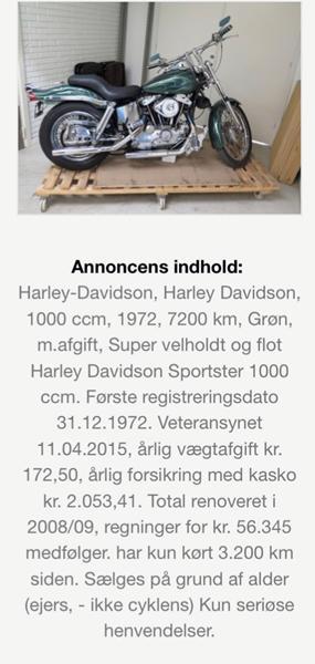 Harley Sportster - pris rimelig?