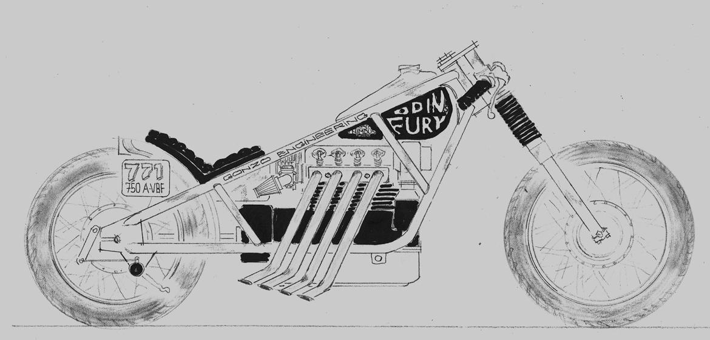 Nimbus Bonneville Special - Jeg tegnede lidt med papir og blyant, for at finde ud af hvordan den skulle se ud billede 5